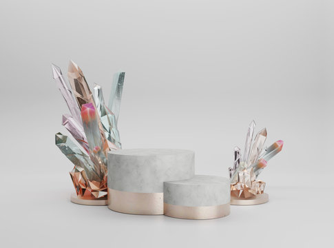 3d pedestal, abstract modern display with copy space minimalist background. Pastel crystal nugget and white marble cylinder podium with gold elements isolated on white. Trendy 3D render illustration