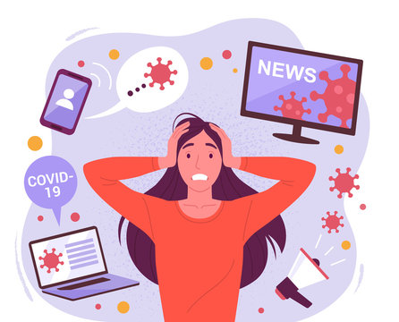 Woman in panic from coronavirus. Vector illustration of young attractive stressful woman surrounded by social media devices with virus information. Isolated on background
