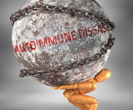 Autoimmune disease and hardship in life - pictured by word Autoimmune disease as a heavy weight on shoulders to symbolize Autoimmune disease as a burden, 3d illustration