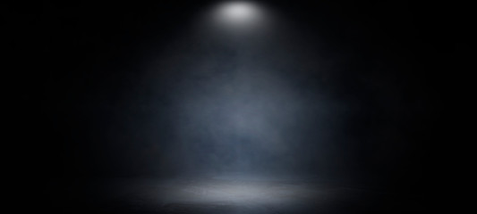 Background of an empty dark and gray studio room, smoke, smog, empty dark scene, neon light, spotlights.concrete floor, interior texture for display products,abstract wall background.. Fotomurales