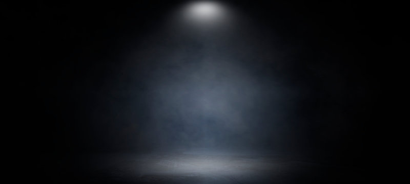 Background of an empty dark and gray studio room, smoke, smog, empty dark scene, neon light, spotlights.concrete floor, interior texture for display products,abstract wall background..