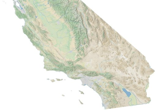 High resolution topographic map of southern California with land cover, rivers and shaded relief in 1:1.000.000 scale.