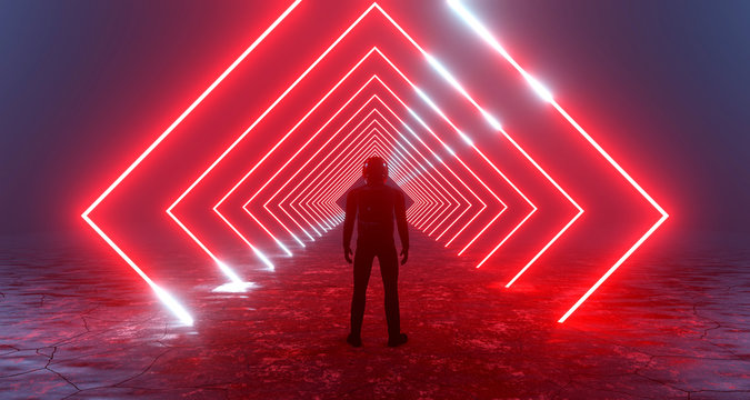 3d rendering fantastic silhouette of a lonely man in a helmet in front of luminous neon red rhombuses, portal squares, teleport. Concept sci-fi game, alien city, station.