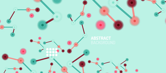 Flat style geometric abstract background, round dots or circle connections on color background. Technology network concept. Fotoväggar