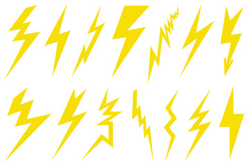 Illustration of different lightning bolts isolated on white Wall mural