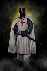 Templar knight with helmet and sword