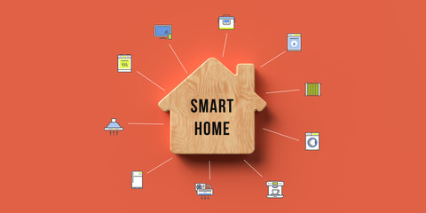 wooden house symbol with message SMART HOME and many tech symbols on orange background