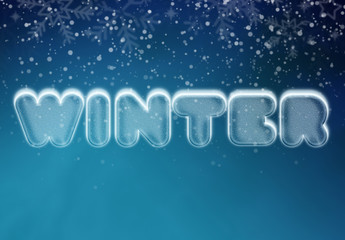 Winter and Snow Cool Ice Text Effect Mockup