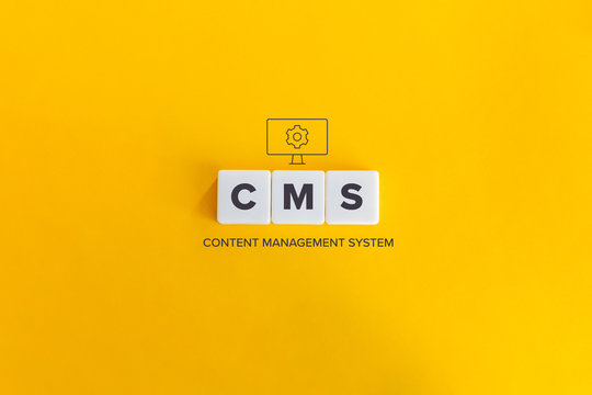 CMS (Content Management System) banner and concept. Block letters on bright orange background. Minimal aesthetics.