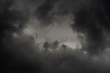 Dramatic thundercloud in dusk sky, rainy and overcast weather. Natural meteorology background. Blurred motion, soft focus. Cloudscape scenery image ready for design, replace sky in photo editor. Fotobehang