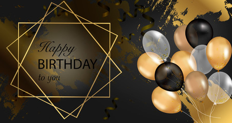 Fototapeta Gold sparkles background Happy Birthday. Happy Birthday background. Greeting logotype for card, flyer, poster, sign, banner, web, postcard, invitation. Happy birthday vector illustration  obraz