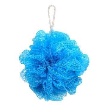blue bath sponge isolated on white background