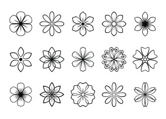 Simple abstract vector flowers icons set. Universal flowers black outline, line art, isolated on white background. Graphic floral set. Thin line flowers collection, cute flat design. Fotobehang