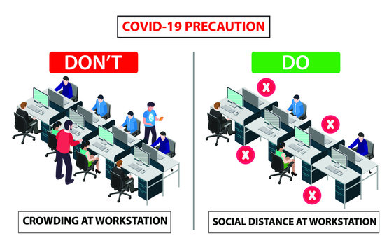 Do and don't poster for covid 19 corona virus. Safety instruction for office employees and staff. Social distance maintain at workstation desk.
