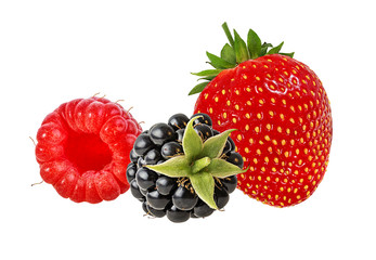 Fototapete - Berries collection. Raspberry, strawberry, blackberry  isolated  on white.