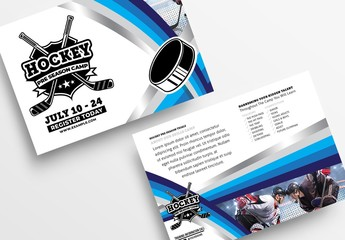 College Ice Hockey Flyer Layout with Colourful Stripes