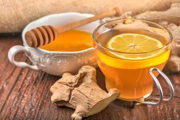 Natural, organic, herbal tea with lemon, honey and ginger root