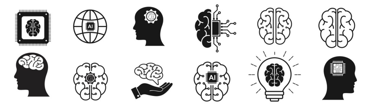 Artificial intelligence icon set. collection of brain, ai, head, machine, technology and more. vector Illustration