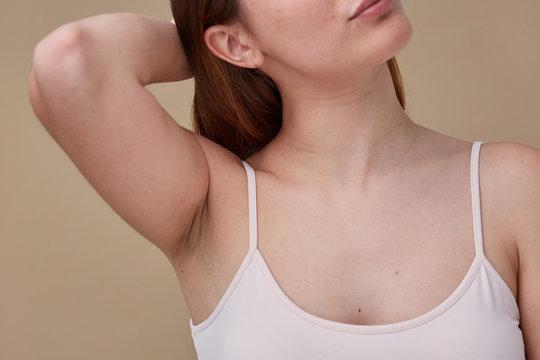 Woman fresh natural armpit closeup