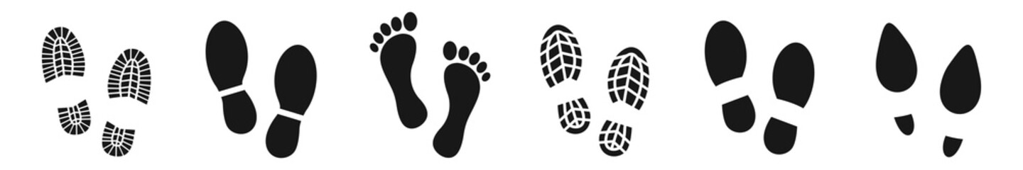 Different human footprints icon set. shoe footprints, Vector Illustration