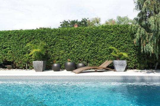 Private pool in backyard