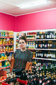 Portrait of Retro-Styled Woman in Kiosk