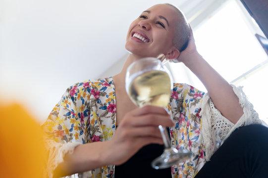 Woman enjoying glass of wine