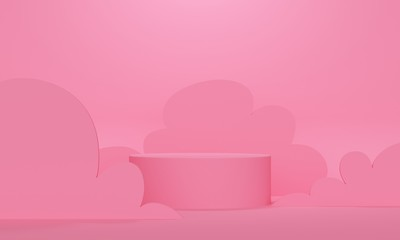 Cylindrical podium with wavy shapes on a pink background. 3d rendering