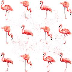 Tuinposter Flamingo Aquarelle painting of flamingo sketch art pattern illustration