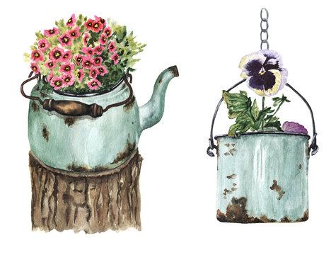 Watercolor Garden decor. Flowers in pots. Hand-drawn decor elements with flowers, teapot and flower pots. Vintage decor with rust.