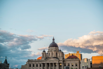 view of courthouse building in downtown syracuse new york at sunset