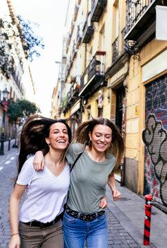 Two teenage friends in Madrid