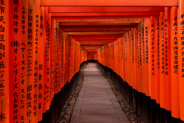 Walkway under orange wooden pillars, Kyoto, Japan