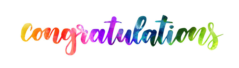 Congratulation - handwritten modern watercolor calligraphy inspirational text. Rainbow colored.