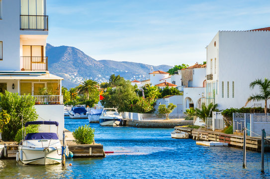 Summer panorama of Empuriabrava with yachts, boats and waterways in Costa Brava, Catalonia, Spain