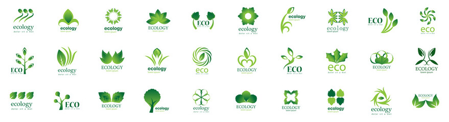 Collection Of Eco And Organic Logo Set - Isolated On White Background - Vector. Eco And Organic Logo Useful For Leaf Icon, Ecology Logo, Eco Symbol And Template Design. Ecology Tree Icons