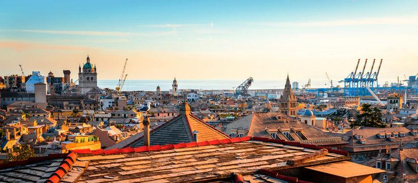 Panoramic view  of Genoa (Genova) in a beautiful summer day, Liguria, Italy