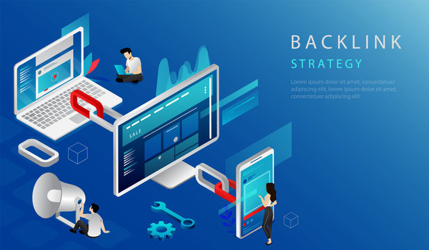 Isometric Online Communication Technologies, Internet Business Social Media Marketing Concept. Website Landing Page. Business People Making Backlink Strategy. 3d Web Page Cartoon Vector Illustration