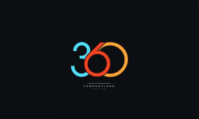 360 Number Logo Design Icon Vector Symbol