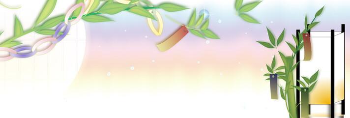 七夕の笹飾りに灯篭と丸窓のイラストバナー素材