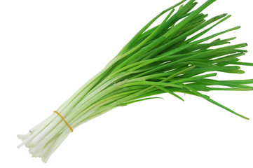 Wall Mural - a bunch of green onion isolated on the white background