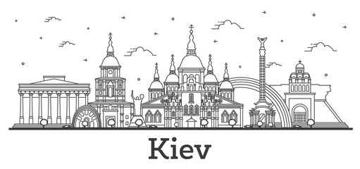 Fototapete - Outline Kiev Ukraine City Skyline with Historic Buildings Isolated on White.