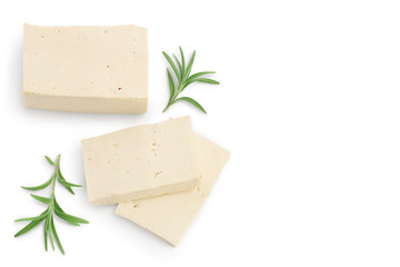 tofu cheese isolated on white background with clipping path and full depth of field, Top view with copy space for your text. Flat lay Wall mural