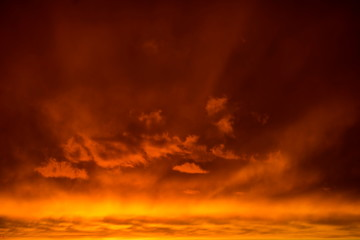 Photo sur Toile Rouge mauve Dramatic Clouds on Sunset in Ukraine