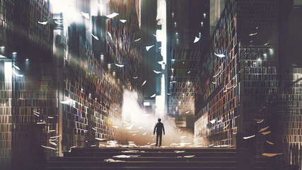 Foto auf AluDibond Grandfailure man standing in a mysterious library, digital art style, illustration painting