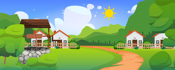 Printed kitchen splashbacks Lime green A settlement amid in beautiful forest. Village with farmlands meadows and mountains background. Natural landscape. Cartoon illustration style. The countryside. Cottage among trees vector.