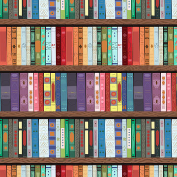 Wooden bookcase full of different books. Seamless pattern. Education library and bookstore concept. Vector illustration.