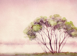 Obraz na płótnie drzewo nad jeziorem
