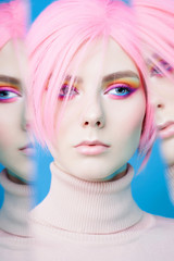 Foto op Textielframe womenART Art fashion studio portrait of beautiful redhead woman with modern makeup.