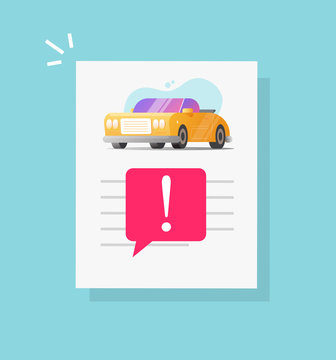 Car fake risk history document description report and warning vehicle access notice or automobile instruction info page and important caution fraud message vector or fine note flat cartoon image